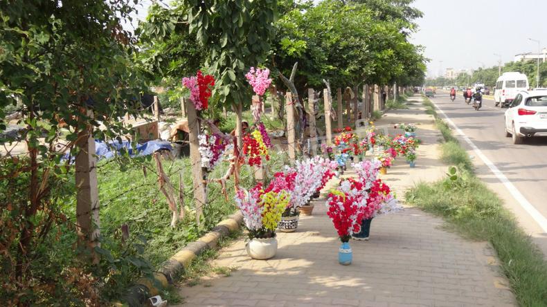 路上にカラフルな花が花瓶に活けられた状態で並んでいる